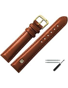 Uhrenarmband 14mm Leder Glatt Braun Mit Naht, Bombage - Ersatzarmband Aus Rindsleder - Inkl. Federstege / Werkzeug...