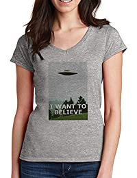 I Want To Believe Mujer V-Neck T-Shirt