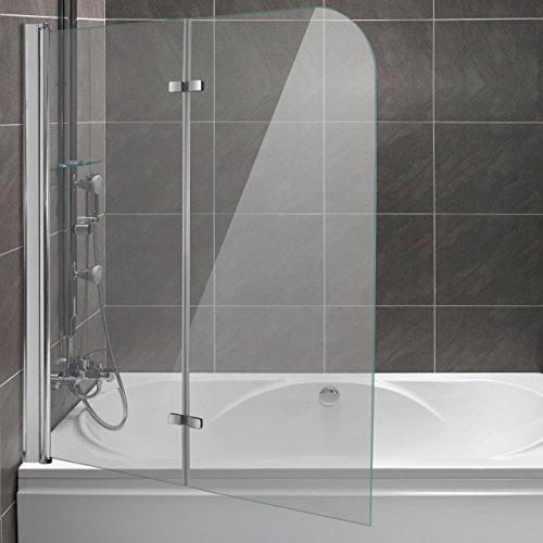 duschtuer klappbar Homelux Badewannenaufsatz Badewannenfaltwand Faltduschwand (B x H) 120 x 140 cm, Sicherheitsglas 6 mm mit Lotuseffekt