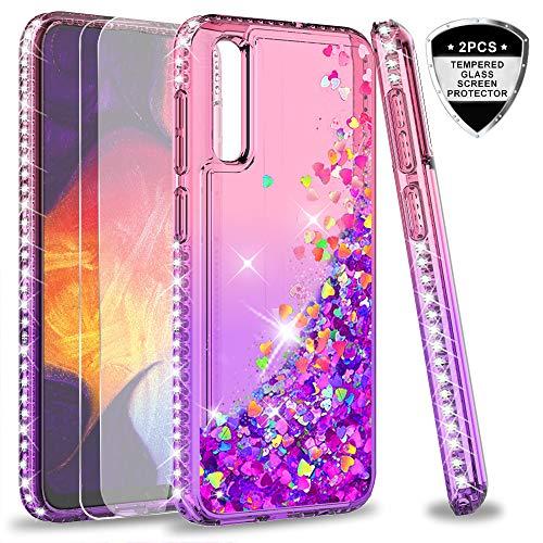 LeYi Hülle Galaxy A50 Glitzer Handyhülle mit Panzerglas Schutzfolie(2 Stück), Diamond Cover Bumper Schutzhülle für Case Samsung Galaxy A50 Handy Hüllen ZX Pink Purple -