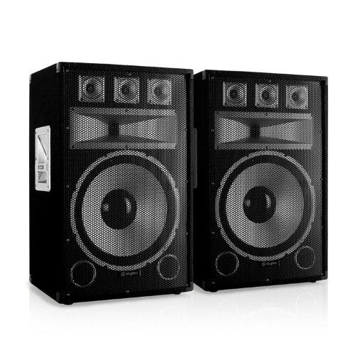 Paar Skytec TX15 Passiv-PA-Lautsprecher 500W Boxen für Bühne und Konzert (38cm (15 Zoll) Subwoofer, 2x 250W RMS, Bassreflex, Stativflansch) schwarz