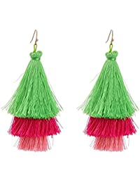 Valentines Special- Lime Rasberry Fringe Tassel Drop Earrings For Girls And Women By The Cats Pajama