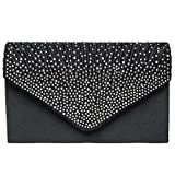 SUMAJU Envelope Clutch Bag, Women's Satin Envelope Evening Clutches Wedding And Party Purse Prom Handbags Black