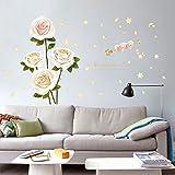 Weaeo Weiße Rose Schlafzimmer Esszimmer Wohnzimmer Einbauschränke Studie Hintergrund Dekorative Wandaufkleber Wandbild