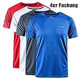 Herren Schnelltrocknendes Atmungsaktives und waschfestes kurzärmeliges Rundhals-Sport-T-Shirt/Laufmantel IM Freien Fitness-Kleidungen für Männer 1-4er Packung (4er Packung, 3XL)