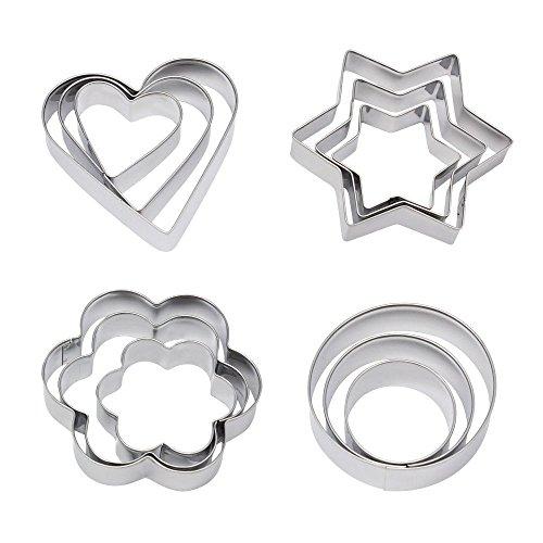 Homgaty Ausstechformen, Metall, zum Backen von Keksen, Herz Stern, Kreis, Blumen, Backform, 12Stück (Metall-ausstechformen Sterne)