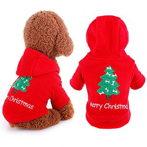 """Tutina natalizia in cotone per cani e gatti con scritta in inglese """"Merry Christmas"""" e albero di Natale ricamato, con cappuccio"""