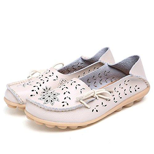 Oriskey Damen Mokassin Bootsschuhe Leder Loafers Schuhe Flache Fahren Halbschuhe Sandalen Beige
