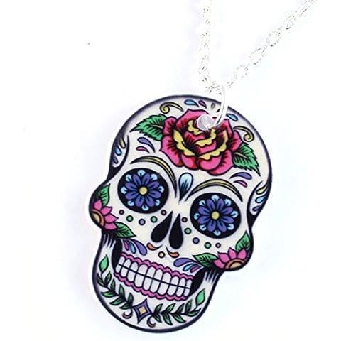 TFB–Funky Grande Bianco Morte Maschera Deep Rose messicano zucchero collana con ciondolo a forma di teschio gotico Retro Regalo Giorno dei Morti
