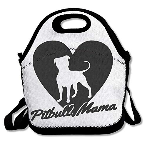 Pitbull Mama tragbare Lunch-Tasche - Bento Bag - Große wiederverwendbare Lunch-Tasche für Damen, Teenager, Mädchen, Kinder, Baby, Erwachsene (Für Pitbulls Blau-gurt)