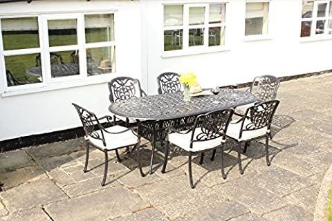 Cast Aluminium 6 Seater Oval Dining Set in Speckled Egg Shell or Speckled Bronze - 6 Seat Oval Metal Outdoor Dining Set with Chairs and Cushions.