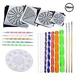 OOTSR 29 Pezzi Kit di Pittura Mandala, Strumento di punteggiata pennelli da Pittura per Arte della Mandala, Tela/Pittura rupestre, Arte murale, Design delle Unghie,mestiere DIY