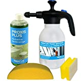 ABACUS FOAM MASTER Sanitär-Set (7267) --- 1x Schaumsprüher, 1x 1000 ml PROXIS PLUS hochaktiver Sanitärreiniger, 1x Autoschwamm, 1x Haushaltsschwamm - Pumpsprüher Badreiniger Urinsteinentferner