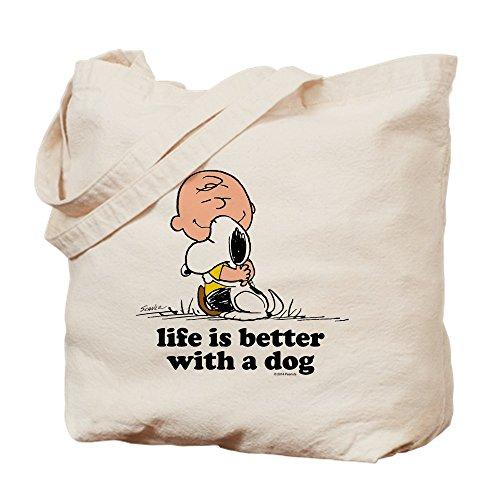 e Brown: Leben ist besser mit einem Hund-Leinwand Natur Tasche, Reinigungstuch Einkaufstasche, canvas, khaki, M ()