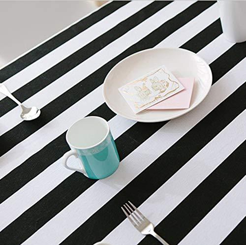 zbinbin Tischdecke Schwarz und Weiß Große Gestreifte Leinwand Einfache Moderne Rechteckige Dicke Tragbare Leinwand Tischdecke 130X180 cm Schwarze und weiße Streifen