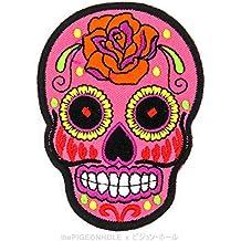 [Live to Ride, Ride to Live] rosa azúcar calavera; SUNNY Buick (fucsia rosa, rojo)–Die Cut en de hierro, sew en bordado–Parche, diseño de regalo, recuerdo, # Gran Día De Los Muertos mexicano libertad ala calavera