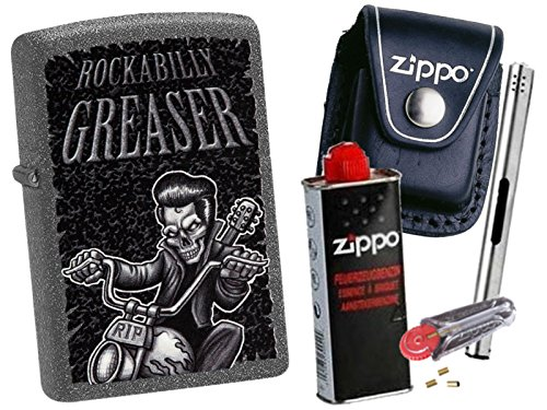 Zippo Rockabilly Greaser + Zippo POUCH mit Zippo Zubehör und L.B Chrome Stabfeuerzeug (mit LOOP Black Pouch)