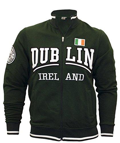 Pullover mit durchgehendem Reißverschluss, mit Dublin- und Irland-Schriftzug und dreifarbiger Flagge, Farbe: grün