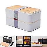 PluieSoleil Brotdose Erwachsene Lunchbox Bento Box Lebensmittelbehälter Brotdose Bento Box 2 Fächer Mit Besteck  (Weiß)