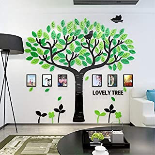 Topmail Large 3D Family Tree Wall Stickers Removable Vinyl Tree Wall Decals with 6 Photo Frames for Bedroom Nursery (175×180cm)