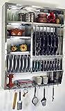 Guru-Shop Edelstahl Küchenregal, Wandregal Miniküche mit Ablage für 16 Teller, 11 Untertassen, 11 Tassen, 94x74x20 cm, Weinregale & Kleine Regale