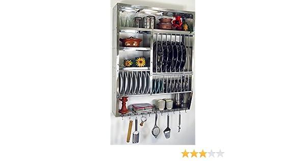 Amazon.de: Guru-Shop Edelstahl Küchenregal, Wandregal Miniküche mit ...