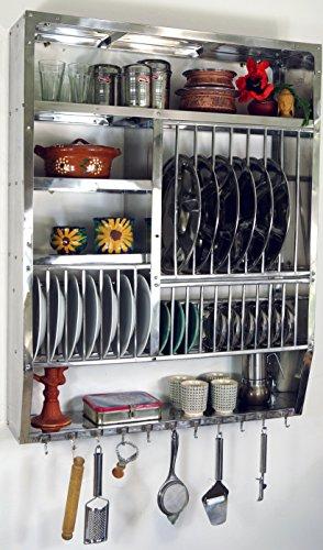 Guru-Shop Edelstahl Küchenregal, Wandregal Miniküche mit Ablage für 16 Teller, 11 Untertassen, 11 Tassen, 94x74x20 cm, Rustikale Regale