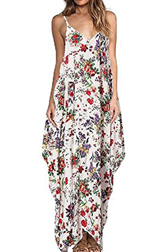 Frauen Ist Sommer V Floral Maxi Slip Beach Party - Kleid Red