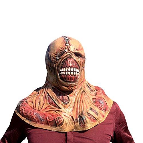 Nemesis Horror Zombie Monster Maske mask Kopf aus sehr hochwertigen Latex Material mit Öffnungen an Augen Halloween Karneval Fasching Kostüm Verkleidung für Erwachsene Männer und Frauen Damen Herren gruselig Grusel (Evil Resident Kostüme)