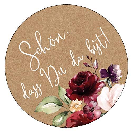 48 x Aufkleber 40 mm Hochzeit Gast Vintageflower Gastgeschenk Etikett 19040440
