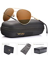 LUENX Mens Womens Aviator Sunglasses Polarized with Case - UV 400 Protection Colors 60mm
