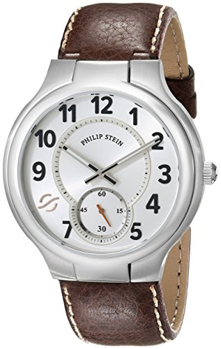Philip Stein Men's 42-SW-CSTDBR Round Analog Display Japanese Quartz Brown Watch