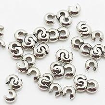 thetastejewelry 3mm Crimp cubierta en blanco plata tono mucho 1000pcs conclusiones Jewelry Making acabados