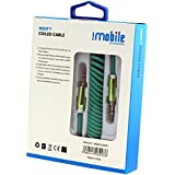 IMobile Aux Audio Cable With 3.5mm Jack / Male To Male Audio Cable 3.5mm - 1.8 Meter Coiled / Audio Aux Cable For Car Stereo Speaker Hometheater And More. (Green)