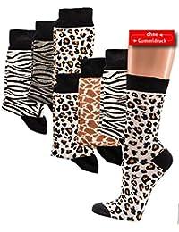 """3 Paar Zebra/Giraffe/Leopard GESUNDHEITSSOCKEN normallang """"ohne Gummidruck"""" Damen u.Herren"""