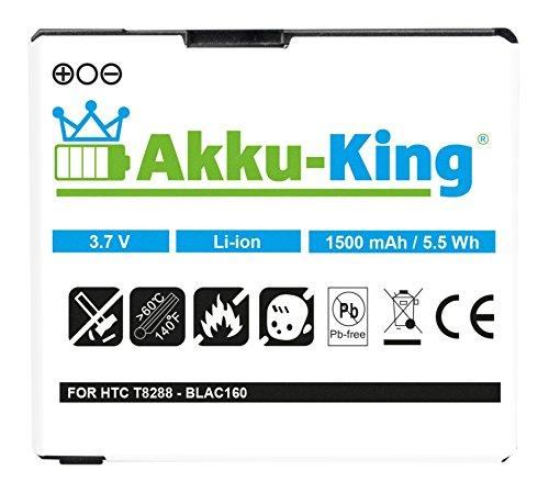 Akku-King Akku für HTC, T-mobile Touch HD, Pro HD, Blackstone 100 HD T8282 T8288 - Li-Ion ersetzt BA S340, BLAC160, 35H00120-01M - 1500mAh