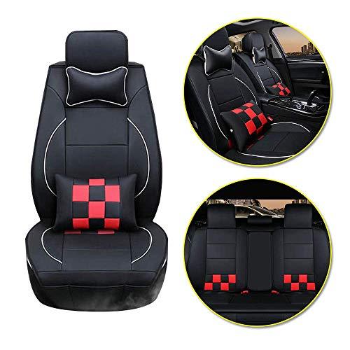 Longzhimei Coprisedili Auto per T oyota Yaris Aygo Camry C-HR Corolla Highlander Anteriore e Posteriore a 5 Posti Cuoio Cuscino del Sedile dell'automobile Resistente All'usura (Nero e rosso)