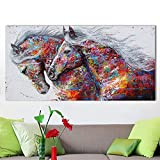 XIAOXINYUAN Immagine Di Arte Della Parete Dipinto Ad Olio Su Tela Stampa Animale Per Soggiorno Decorazioni Per La Casa Due Cavalli In Corsa Senza Cornice 70X120Cm