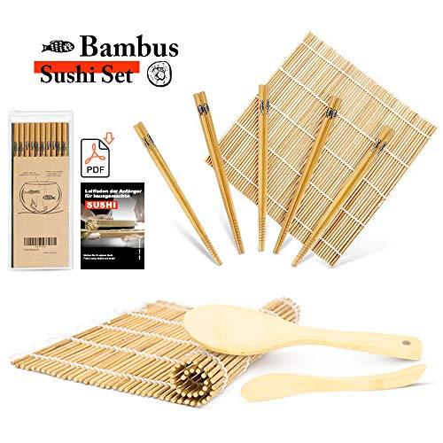 Bambus-matte (MUDEELA Sushi Set, Bambus Sushi Matte, karbonisierte Sushi Rollmatte, Anfänger Sushi Kit, 2 Rollmatten - 5 Paar Essstäbchen - 1 Reisstreuer - 1 Paddel - 1 Anfängerleitfaden (.PDF-Datei))