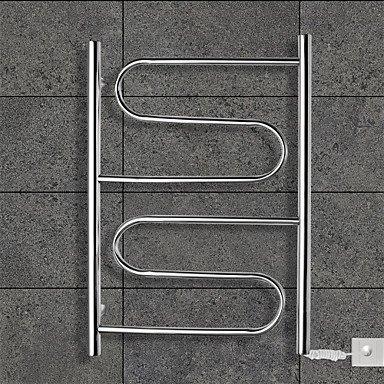 Miaoge® 80W Sèche-serviettes Miroir en acier inoxydable poli Séchoir support mural 220-240V