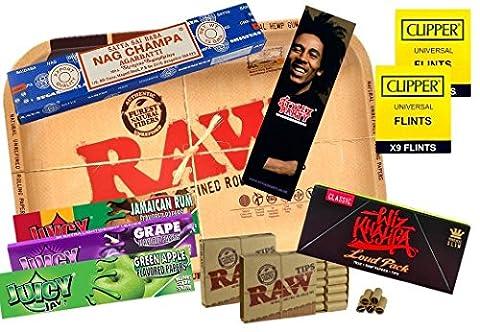 Raw Mini Plateau de fumer Ensemble de papier à rouler Juicy Wiz Khalifa Nag Champa pierres à briquet Pointe