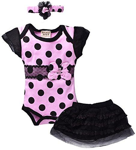 ZOEREA 3 pezzo abiti da cerimonia Bambina che coprono insieme Body & Gonna & Copricapo delle neonate del vestito dal tutu bambino Vestitini per il Battesimo Matrimonio