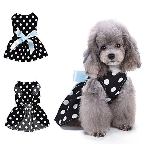 Cute POLKA DOT Schleife Ärmelloses Kleid Big Swing Dog Pet Kleidung Bekleidung (Wonder Pets Kleidung)