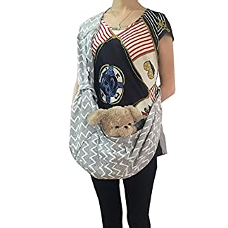 Pineocus Grey Striped Cotton Style Pet Dog Sling Carrier Bag (M) 510I9bebpOL