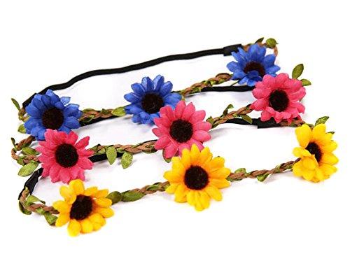Lot de 3 femmes Lady Fille de Bohême Boho Style Daisy fleur bandeau couronne Guirlande Floral Halo Bandeau cheveux avec ruban élastique pour fête de mariage