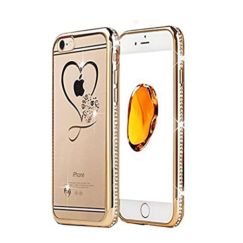Golden Silicone Glitter Diamond Transparent Cover Étuis en strass rose Swan pour iPhone 7 6s Plus 5s Phone Bag Case Coque Luxury for iPhone 6 6s