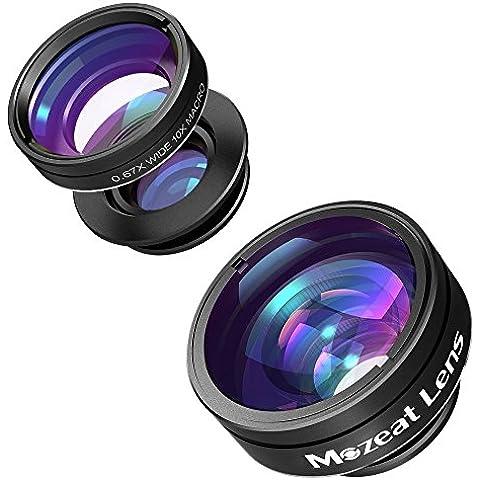 Mozeat 3-en-1 Kit de Lentes para Móvil Clip-on Engancha Incluye Lente 180 Grados Ojo de Pez + 0,67X Lente Gran Angular + 10X Lente Macro para Smartphones iPhone 6 / 6 Plus / 5S / 5 , Samsung Galaxy S6 / S6 Edge / S5, HTC, etc.