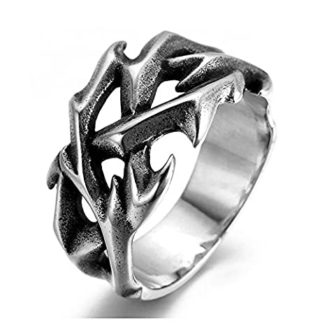 SanJiu Jewelry Stainless Steel Men's Ring Biker Punk Rcoker Classic Hollow Claw Ring Gothic Ring for Men Gold Silver Black Size P 1/2