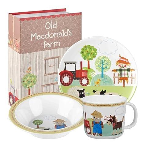 Little Rhymes Old MacDonalds Farm Ensemble de vaisselle à petit-déjeuner en mélamine pour enfants 3 pièces Multicolore