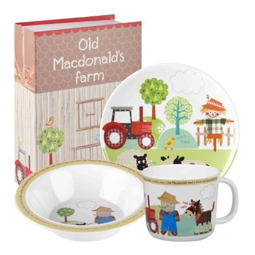 Little rhymes churchill old macdonald's farm - set di 3 stoviglie da colazione, per bambini, in melamina